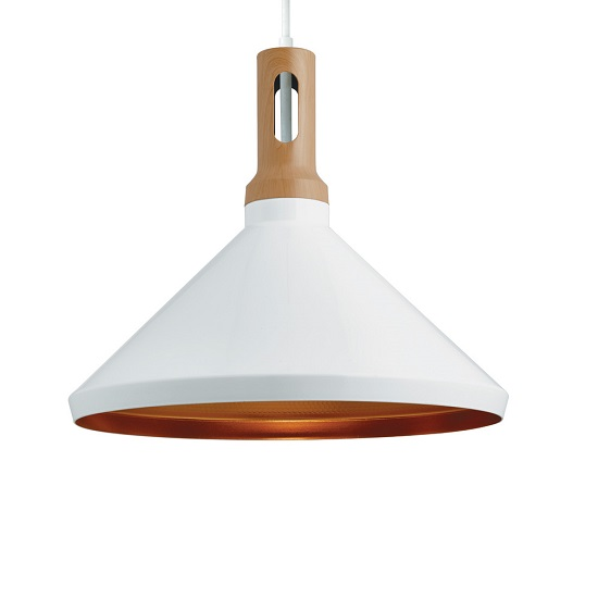 Cone White Pendant Lamp With Adjustable Ceiling Height