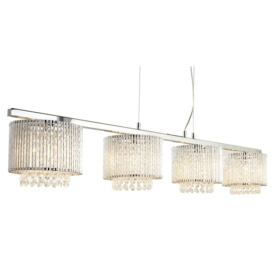 Elise Chrome Light Ceiling Bar With Aluminimum Tubes Trim