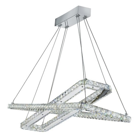 Sylvia Ceiling Pendant Rectangle In Chrome And Crystals Glass