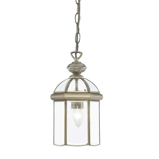 Dome Shaped Antique Brass Lantern Pendant With Bevelled Glass