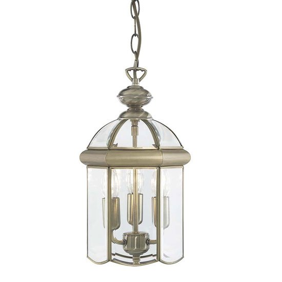 Antique Brass Domed 3 Lamp Lantern Pendant With Bevelled Glass