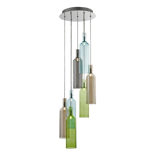 vibrant 7 light multi coloured glass bottle multi drop. Black Bedroom Furniture Sets. Home Design Ideas
