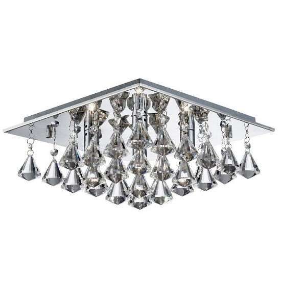 Hanna Chrome Four Light Ceiling Fitting With Clear Crystal Drops