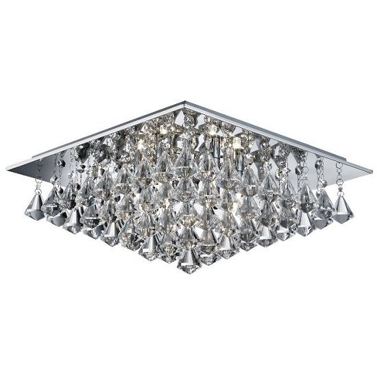 Hanna Chrome Six Light Ceiling Fitting With Clear Crystal Drops