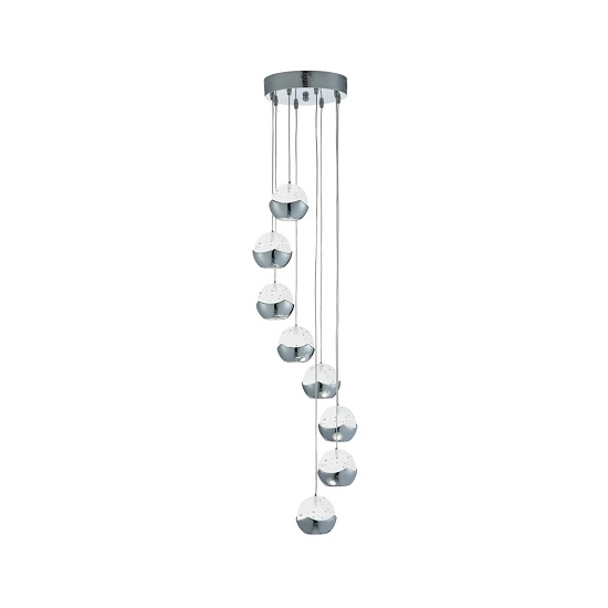 Iceball Chrome Finish Pendant Lamp With Round Glass Shades