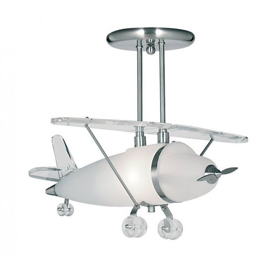 Novelty 1 Lamp Aeroplane Semi Flush Satin Silver Ceiling Pendant