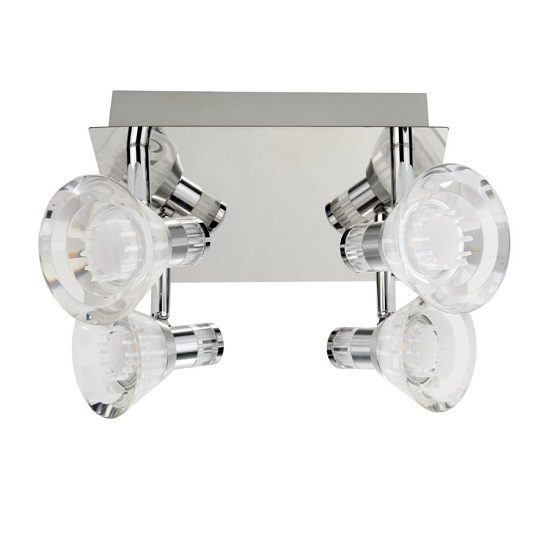 Flute Chrome Square Plate Celing Light In Clear Acrylic Shade