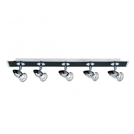 Comet Five Lamp Spotlight Bar In Black and Chrome Finish_1