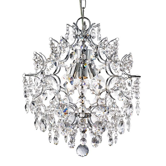 Harrietta 3 Lamp Chrome Pendant With Hexagonal Crystal Buttons