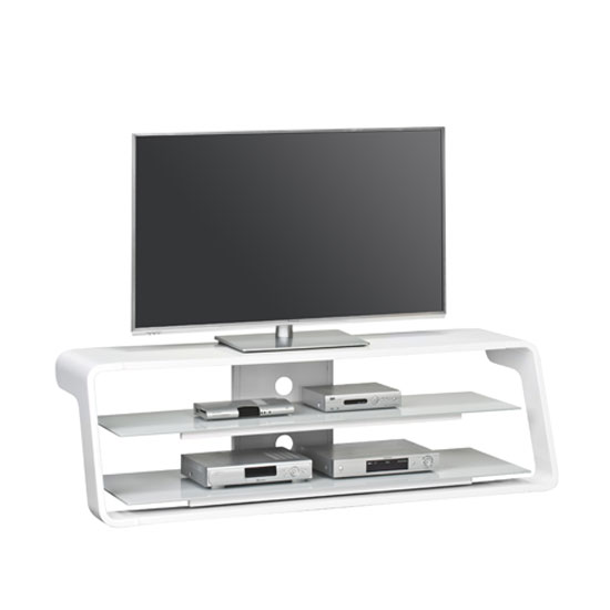 Molton LCD TV Stand In White High Gloss With Grey Glass Shelves