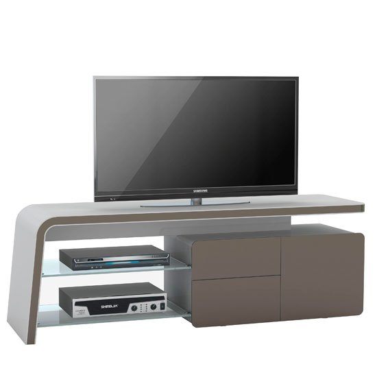Ruskin LCD TV Stand In Platinum Grey And Lava Glass Fronts