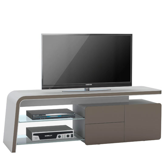 Ruskin Lcd Tv Stand In Platinum Grey And Lava Glass Fronts 2