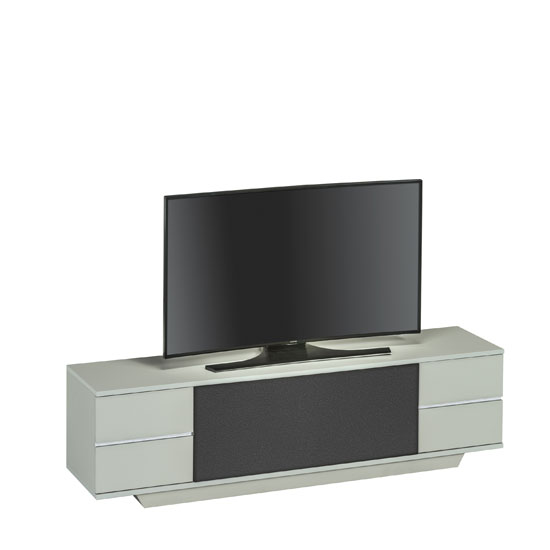 Triskom LCD TV Stand In Platinum Grey And Black Acoustic Fabric