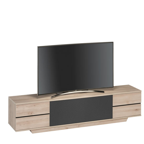Seneca LCD TV Stand In Natural Beech And Black Acoustic Fabric