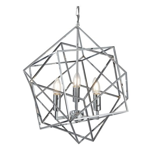 Cube Geometric Frame Three Light Pendant In Chrome Finish_1