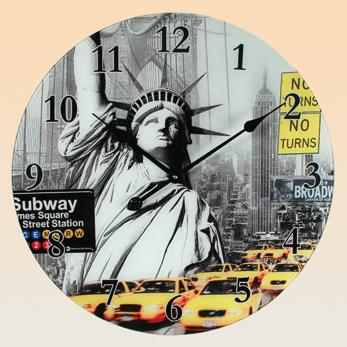 new york glass wall clock