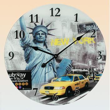 liberty statue glass wall clock