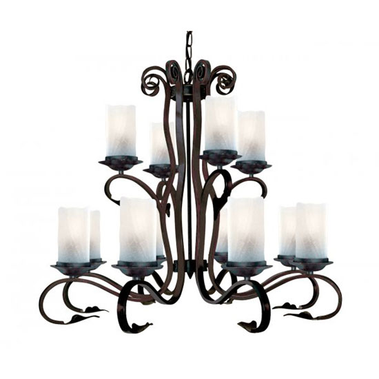 Scroll 12 Lamp Rustic Brown Pendant With White Cathedral Glass