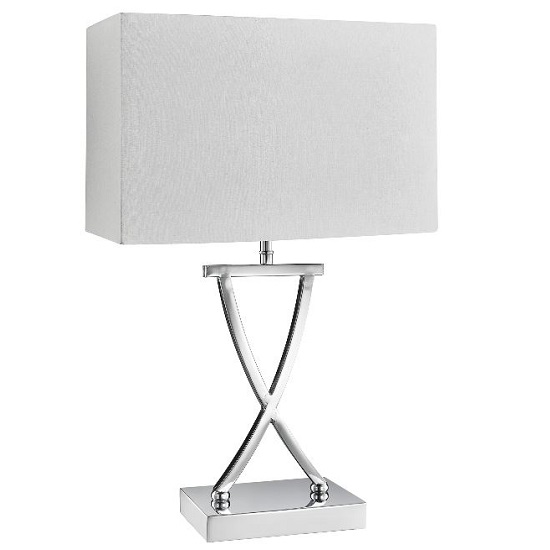 Cross Chrome Table Lamp With Drum Shade_1