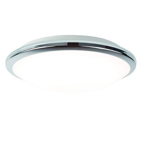 Chrome Bathroom Ceiling Led Lamp In Frosted Glass Shade