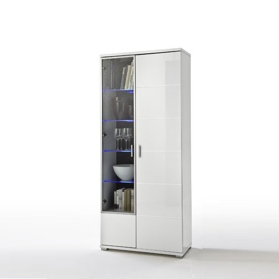 Lorano Display Cabinet In Glass And White Gloss With 2 Door