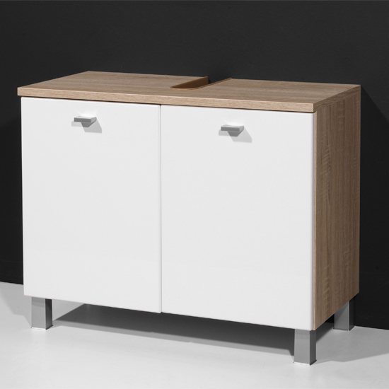 Verena Bathroom Vanity Cabinet in Gloss White Canadian Oak