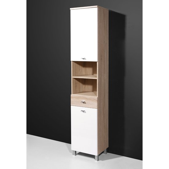 verena tall bathroom cabinet in gloss white canadian oak