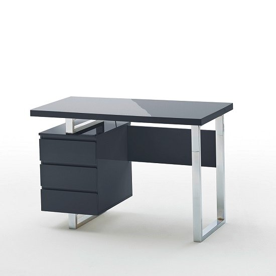 Sydney Computer Desk In Gl Top And High Gloss Black
