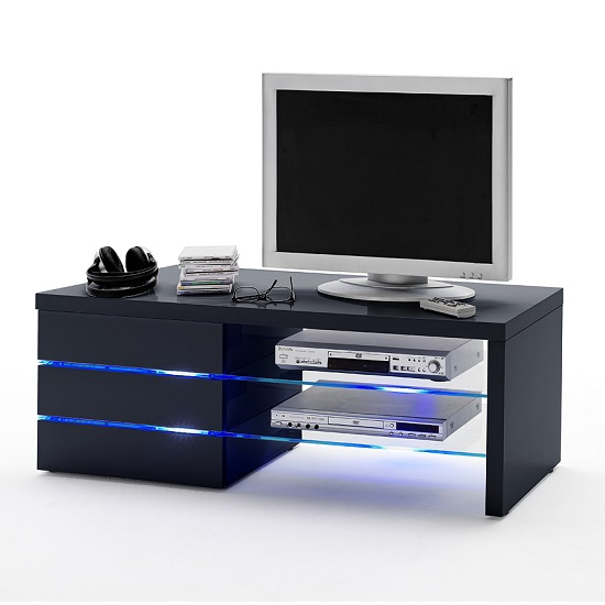 8068 15 Sonia TV Stand MCA - Sonia High Gloss TV Stand In Black With LED Light