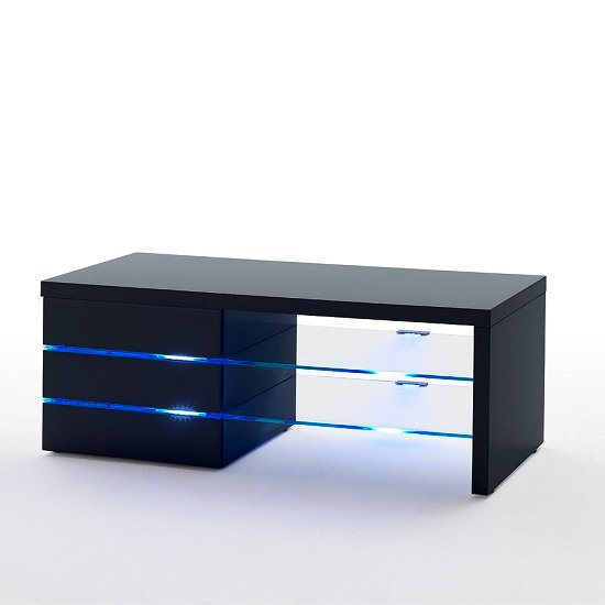 sonia lcd tv stand in black gloss and glass shelves with. Black Bedroom Furniture Sets. Home Design Ideas