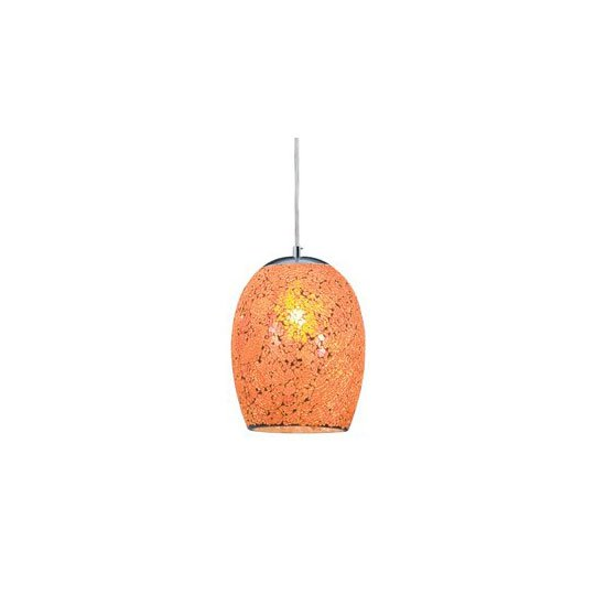 1 Light Orange Crackle Glass Pendant