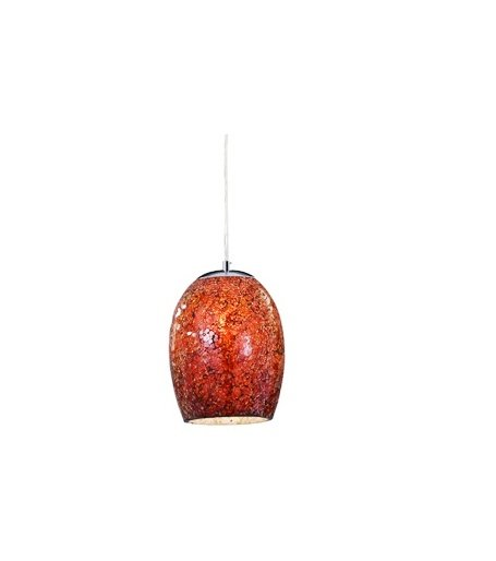 Ariana Chrome Red Cracked Glass Pendant Light