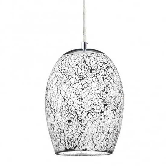 Crackle White Mosaic Glass Celing Lamp With Chrome Trim