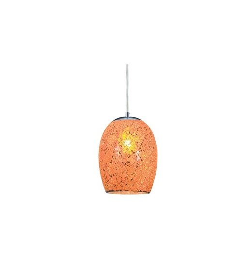 Ariana Chrome Orange Cracked Glass Pendant Light
