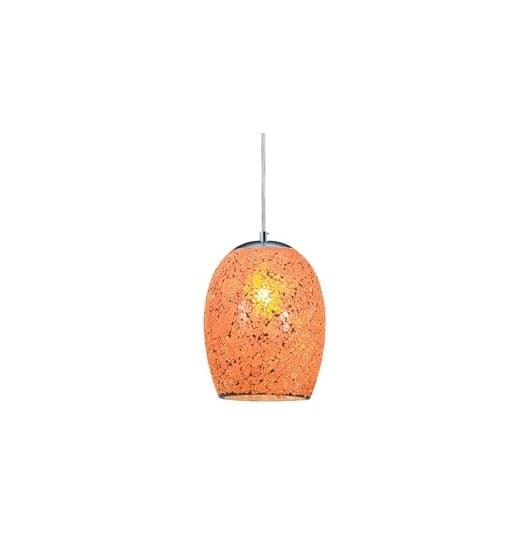 Ariana Chrome Orange Cracked Glass Pendant Light