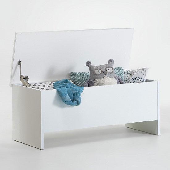Paco White Finish Wooden Ottoman Storage Box 22601