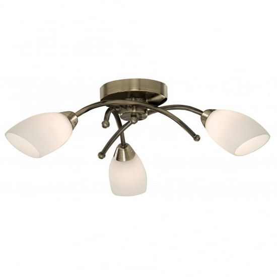 Opera Opal Glass Shades Three Celing Light In Antique Brass