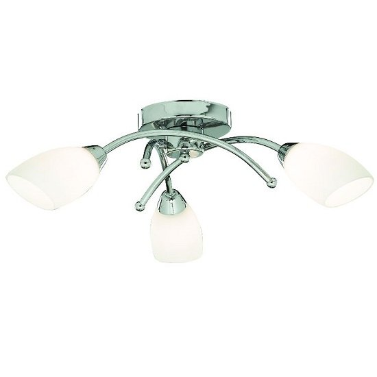 Opera Opal Glass Shades Three Celing Light In Chrome Finish