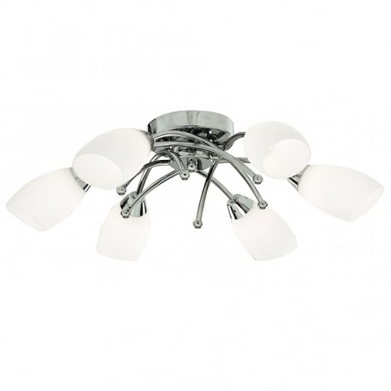 Opera Opal Glass Shades Six Celing Light In Chrome Finish
