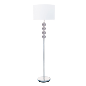 Chrome Floor Lamp With Glass Balls And White Fabric Shade_1