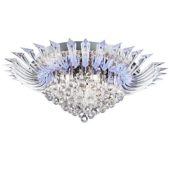 Crystoria Chrome Ceiling Light With Crystal Glass Drops