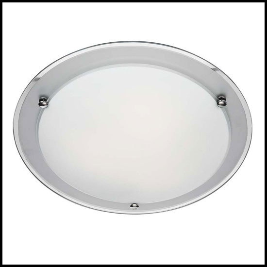 Round Shape 2 Lamp Ceiling Light In Frosted Glass