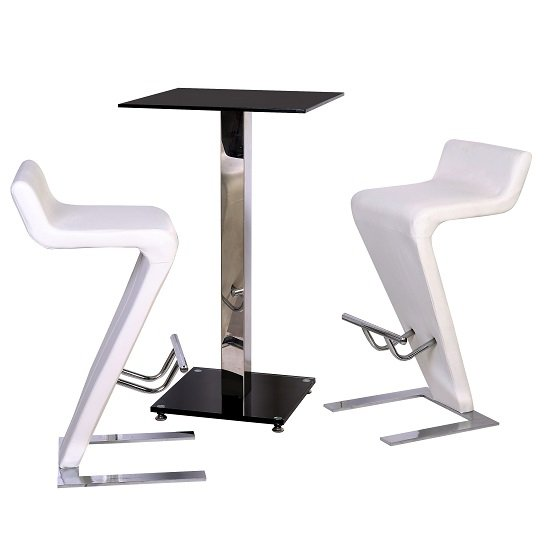Spice Bar Table In Black Glass With 2 Farello Bar Stool In White