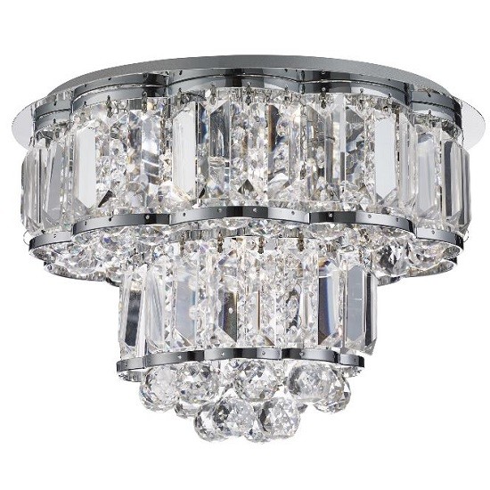 Hayley Chrome Four Light Ceiling Fitting With Crystal Drops