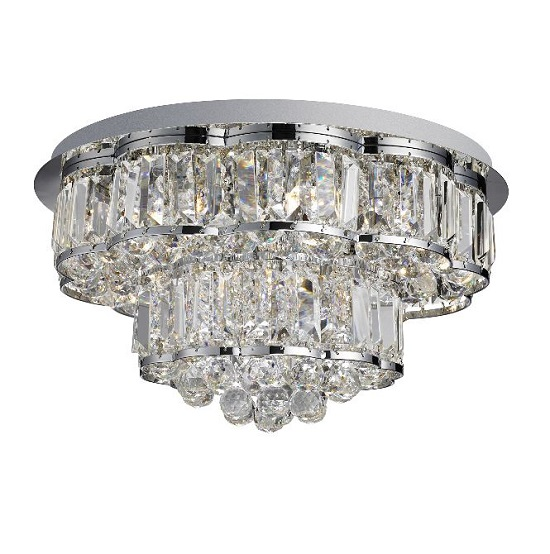 Hayley Chrome Six Light Ceiling Fitting With Crystal Drops