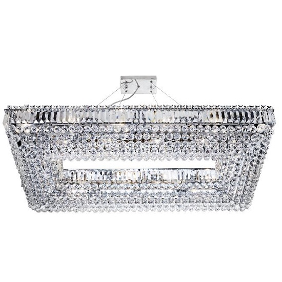 Vesuvius Chrome Rectangle Chandelier With Crystal Coffin Drops_1