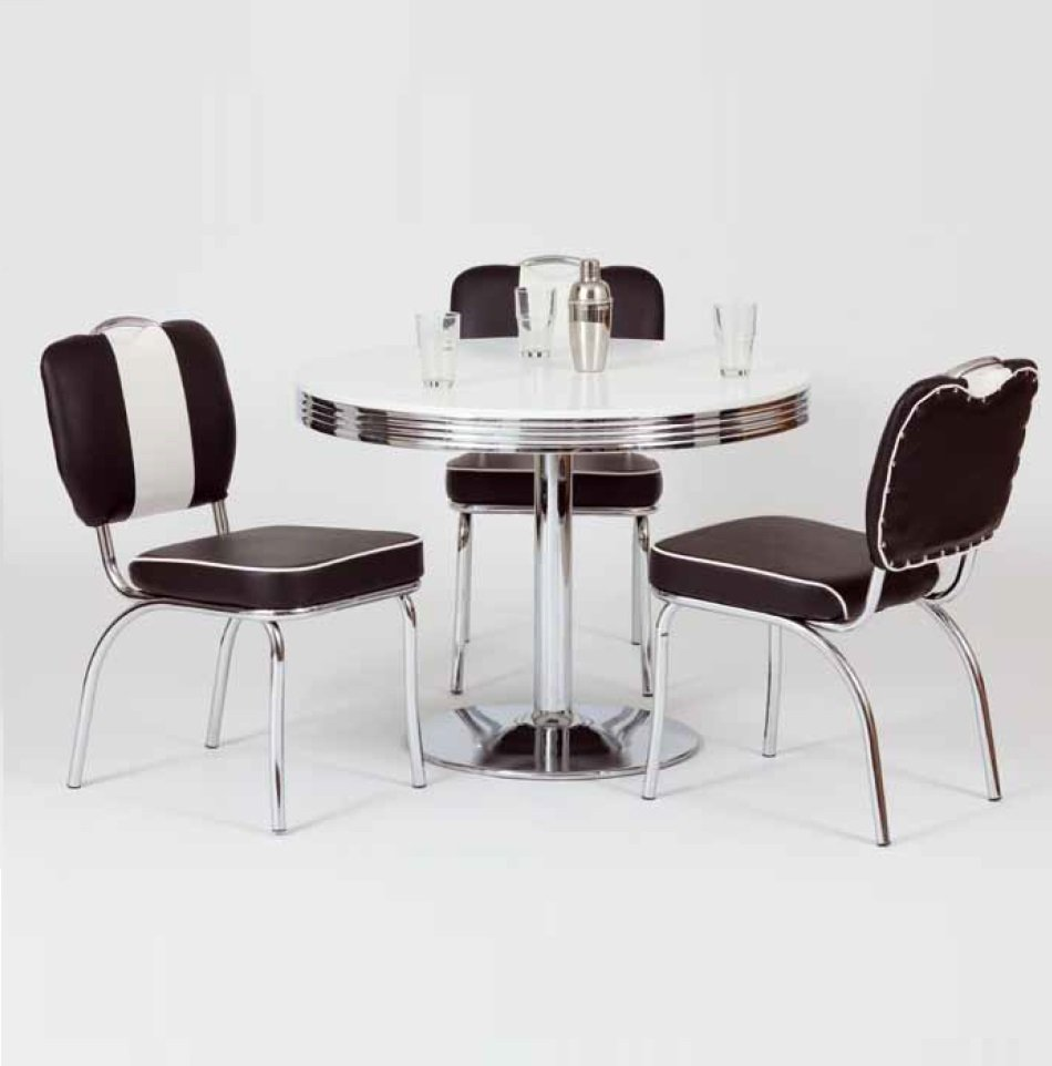 King Retro Bistro Table Round In White And Chrome Top