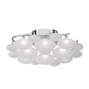 Dulcie Chrome 8 Light Fitting With Frosted Glass Pebble Shades