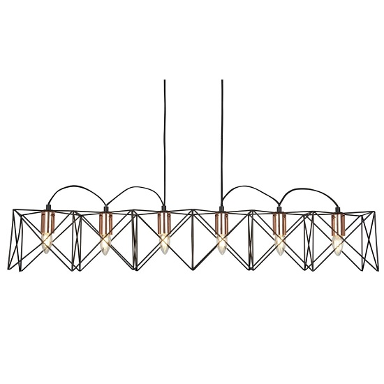 Beautiful Six Light Black Frame Pendant With Copper Detail