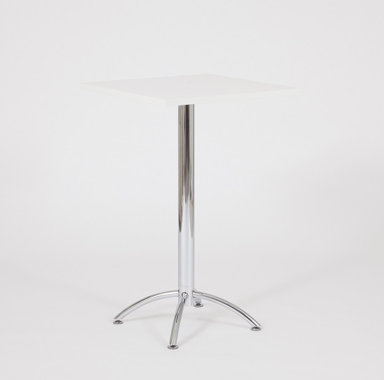 Neve Bar Table With Square White Top And Chrome Legs